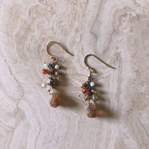 Amber Orange Bead Earrings